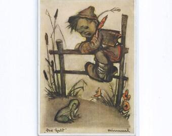 LZ 129 Hindenburg Hummel ARTIST Postcard - The hero, child, flees from a frog  FRIEDRICHSHAFEN  23.3.36