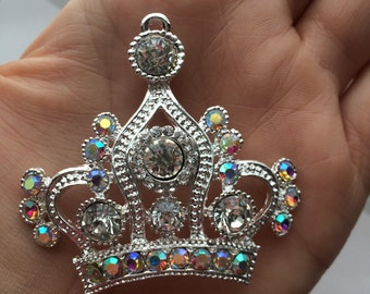 P52  Rhinestone Silver Royal Queen Crown Pendant for Chunky Necklaces