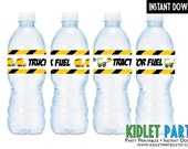 Construction Birthday Water Bottle Wraps /  Instant Download / Tractors / Dump Trucks