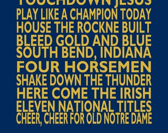 Notre Dame Landmarks and Catch Phrases - Notre Dame Fighting Irish Print