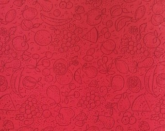 "Fat Quarter~""Fruit"" Novelty fabric. Red quilting cotton fabric ~2 Available"