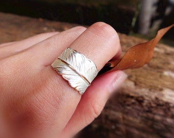 Antiqued Silver Feather Ring, Matte Silver Leaf Ring, Feather Wrap Ring, Boho Ring, Chic Ring, Bohemian Ring Nature Ring Elvish Ring for her