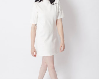 High neck dress, turtleneck dress, white shift dress, white mini dress, A-line dress, trapeze dress, casual dress, mini dress
