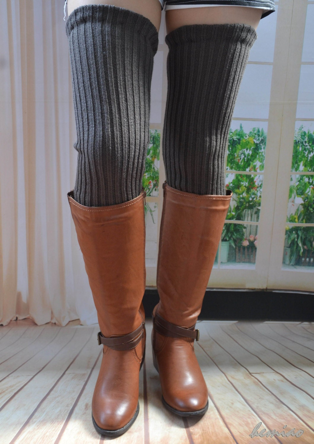 Knitting Pattern For Thigh High Leg Warmers : Knit thigh high leg warmers Knit over knee long Leg Warmers