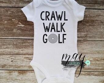 Crawl Walk Golf Onesie - Golfing Baby Clothes - Baby Golf Bodysuit