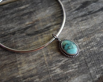Turquoise Charm Bracelet Sterling Silver Turquoise Bracelet Silver Bangle Bracelet Turquoise Bangle