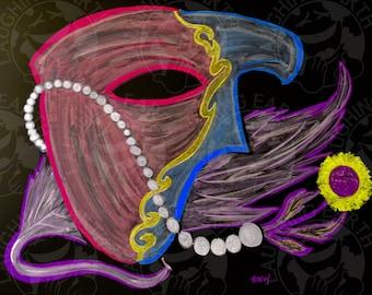 Venician mask done in colored chalk