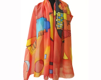 Kandinsky scarf hand painted in red, blue and yellow. Artistic big shawl wrap with famous art design. Wassily Kandinsky shawl. Large shawl.