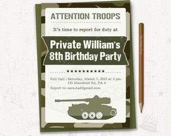 "Army birthday invitation, soldier birthday party, boy birthday invitation, camo invite, army tank - PRINTABLE, 5""x7"" - Attention Troops"