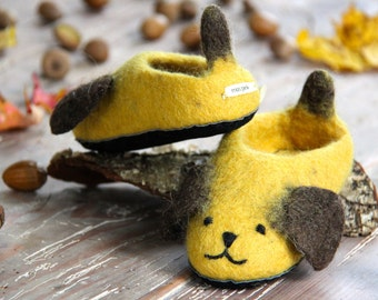Handmade children's dog slippers made from merino wool