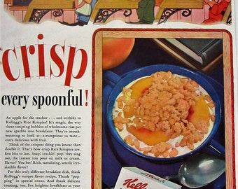 1941 Kellogg's Rice Krispies Vintage Advertisement Kitchen Wall Art Dining Room Decor Original Magazine Print Ad Americana Paper Ephemera