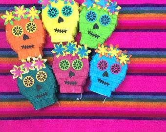 Mini Piñata Decorations, Day of the Dead, Cinco de Mayo and Birthday Parties. Wedding Favor, Sugar Skull Fiesta Decoration, Set of 6