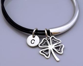 Four Leaf Clover Bangle, lucky charm, 4 leaf clover, Shamrock, Good luck charm, Lucky charm jewelry, Leather bangle, Leather bracelet