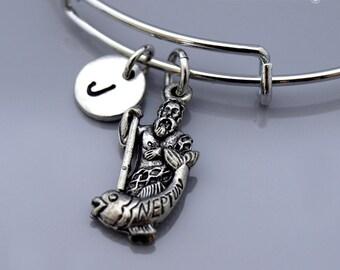 Neptune bracelet, Neptune bangle, roman god of freshwater and the sea, God of sea, Roman god, Poseidon, Expandable bangle, Initial bracelet