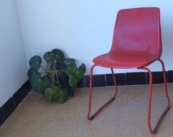 Red Chair, 70's, French garden chair, outdoor furniture