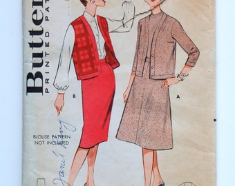 Vintage 1950s/1960s Skirt and Cardigan/Sleeveless Jacket Pattern / Bust 36 / Size 16