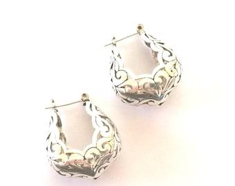 Sterling Silver Filigree Open Hoop Earrings
