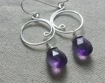 Amethyst Drop Earrings, Amethyst Birthstone Jewelry, Sterling Silver Amethyst Earrings