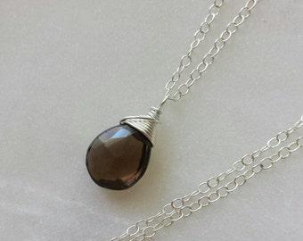 Smoky Quartz Necklace, Smoky Quartz Pendant Necklace, Sterling Silver Necklace, Smoky Quartz Pendant