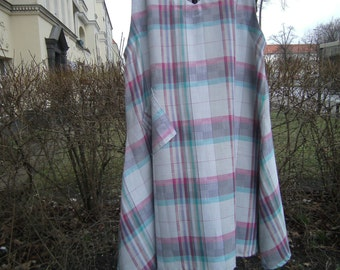 grey Linendress - Dress XXL - Vestdress - checkered Dress - handmade Dress