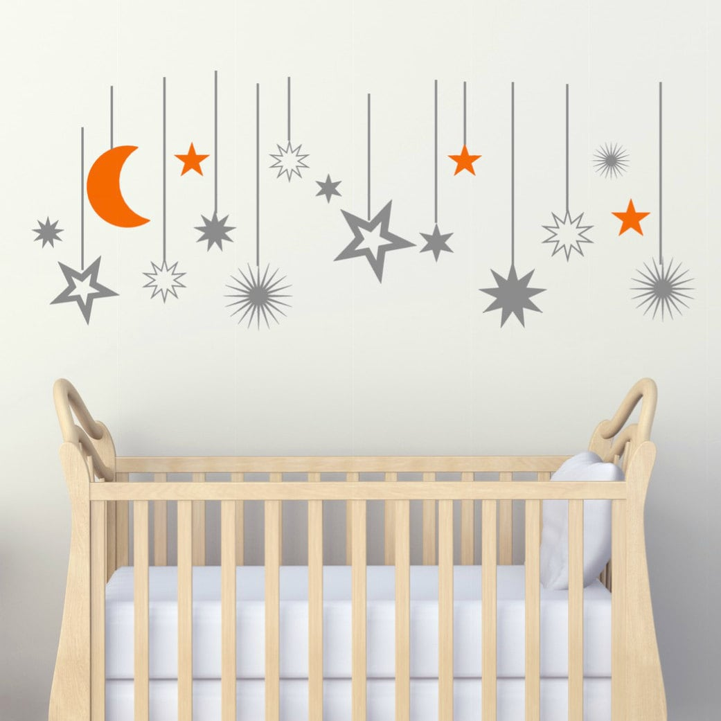 moon and stars decals moon wall decals moon nursery decals. Black Bedroom Furniture Sets. Home Design Ideas