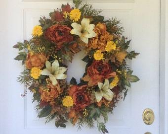Fall Wreath-Autumn Wreath-Fall Decor-French Country Wreath-Elegant Wreath-Designer Wreath