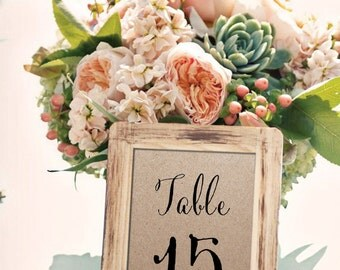Eco Kraft Table Numbers / Names Set - Personalised Kraft Table Numbers / Names - Wedding Vintage Table Numbers by Paper Charms