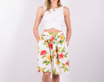 Womens White Hawaii Gathered Skirt