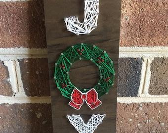 Joy Holiday Wreath String Art Wood Sign
