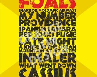 Foals Leeds Festival Saturday 27th August 2016 - Set List Poster