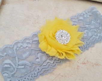 Yellow and Gray Bridal Garter,Stretch Lace Garter, Keepsake Garter, Wedding Garter, Bridal Garter, Shabby Flower Garter
