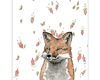Smiling Fox Print, Fox, Small Art Print, Art Print, Nursery Art, Fox Art Print, Wall Art, Fox Print, Water Colour Print, Happy Fox