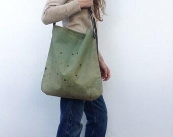 1930s vintage hunter bag /hunting satchel / pouch / khaki canvas / leather