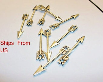 Silver arrow charms Tibetan silver arrow charms10 qty