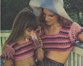 Crochet Top Pattern Vintage 70s Crochet Midrif Top Pattern Mother and daughter Tops Crochet bikini top pattern