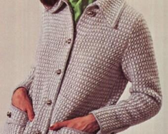 CARDIGAN Pattern Vintage 70s Coat Pattern Jacket Pattern Sweater Pattern KNITTING PATTERN