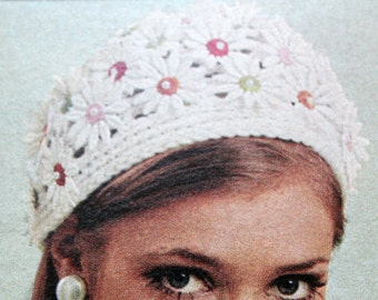 Crochet HAT Pattern Vintage 60s Crochet Cap Pattern Daisy Cap Crochet Hat and Pearls Crochet Instant Download
