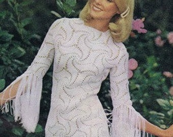 CROCHET DRESS PATTERN Crochet wedding dress pattern crochet maxi dress crochet party dress pattern Vintage 70s