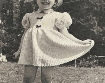 Crochet Baby DRESS Pattern Vintage 50s Girl Crochet Dress Pattern Instant Download-Size 2-3 yr