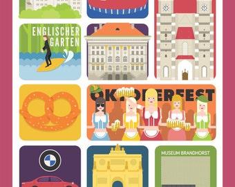 Munich Art Poster,  Munich Prints, Wall Decor, Bar Decor, Travel Art, Kitchen Art, Retro Poster