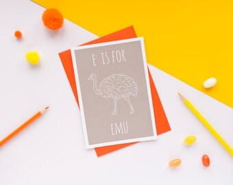 Emu Card / Emu Notecard / Animal Alphabet Card / Animal Alphabet / Blank Greeting Card / Notecard / Animal Card / Emu Birthday Card