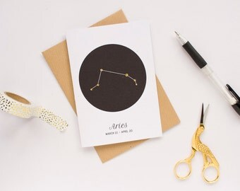 Aries Star Sign Birthday Card / Constellation Card / Zodiac Sign / Birthday Card / Star Sign Constellation / 100% Recycled Materials