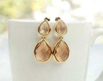 Blush Drop Earrings, Champagne Earrings, Bridesmaid Earrings, .925 Post Earrings, Bridesmaid Gift, Dangle Earrings, Wedding Jewelry, Bridal
