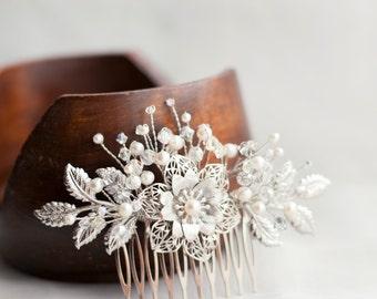 Bridal Hairpiece, Wedding Headpiece, Bridal Headpiece - GRETTA - Vintage Inspired Silver Bridal Haircomb