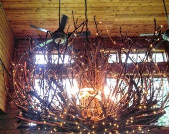 Allegheny - 5 Light-- Rustic Twig Chandelier - Grapevine Chandelier - Twig Chandelier - Branch Chandelier - 300 Fairy Lights