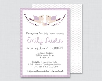 Bird Baby Shower Invitation Printable or Printed - Purple Birdie Baby Shower Invites - Bird Shower Invitation Baby Girl Invitation - 0037-R