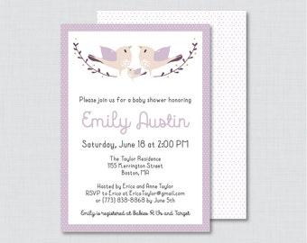 Bird Baby Shower Invitation Printable - Purple Birdie Baby Shower Invites - Bird Baby Shower Invitation Baby Girl Invitation - 0037-R
