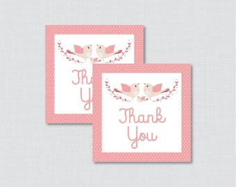 Bird Baby Shower Printable Favor Tag - Pink Birdie Baby Shower Favor Tags - Bird Baby Shower Favor Tag Thank You Tag - 0037-P