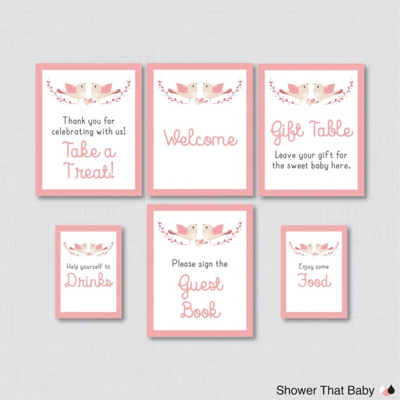 bird baby shower table signs six signs welcome sign favors sign