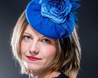 Blue percher hat, blue felt button hat with handmade silk rose